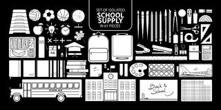 Set of isolated white silhouette school supply. Set of isolated white silhouette school supply in 61 pieces. Cute objects vector illustration in white plane Royalty Free Stock Photos
