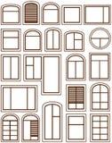 Set isolated windows icons. Set isolated windows silhouette on white background stock illustration