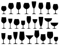 Set of isolated wine and dessert glasses Royalty Free Stock Photography