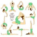 Set of isolated yoga poses Royalty Free Stock Photos