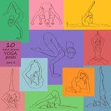 Set of isolated yoga poses Stock Images