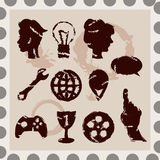 Set of 11 isoletad stamps Royalty Free Stock Photo
