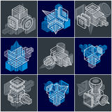 Set of isometric abstract vector geometric shapes. Stock Photography