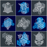 Set of isometric abstract vector geometric shapes. Artisic abstraction illustration Royalty Free Stock Photography