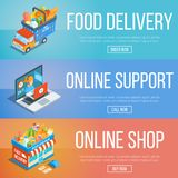 Set of isometric banners 2. Set of isometric banners on theme online shopping, support and food delivery Royalty Free Stock Photography