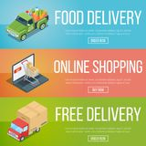 Set of isometric banners. On theme online shopping and delivery services Royalty Free Stock Photos