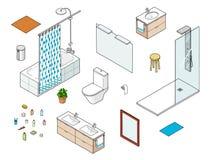 Set of isometric bathroom elements including shower, bathtube, mirror, washbasin. Toilet Royalty Free Stock Image