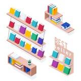 Set of isometric bookshelves. stock illustration