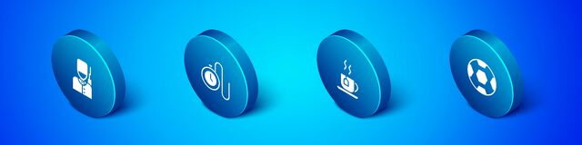 Set Isometric British soldier, Cup of tea with tea bag, Football ball and Watch chain icon. Vector