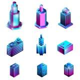 Set isometric budynki odizolowywający na białym tle obraz stock