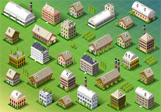 Set of Isometric Building in Spring Royalty Free Stock Photos