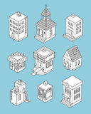 Set of Isometric Buildings. Black and white vector illustration Stock Photography