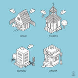 Set of Isometric Buildings. Black and white vector illustration Stock Photos