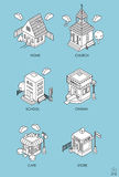 Set of Isometric Buildings. Black and white vector illustration Royalty Free Stock Photo