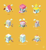 Set of Isometric Buildings. Black and white vector illustration Stock Image