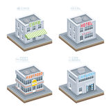 Set of Isometric Buildings Royalty Free Stock Photography