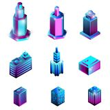 Set of isometric buildings isolated on a white background. stock illustration