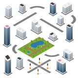 Set of isometric buildings Stock Images