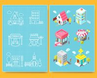 Set of isometric buildings with street elements and green spaces and Blueprint. Royalty Free Stock Images