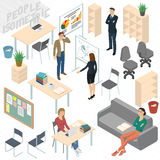 Set of isometric  business people. Set of isometric 3d flat design vector standing and sitting business people different characters, styles and professions Royalty Free Stock Photos
