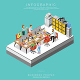 Set Of Isometric Business People Teamwork Meeting In Office Set A Stock Photography