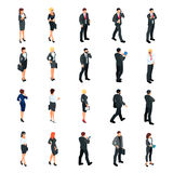 Set of isometric businessmen  on white background. Set of 3d businessmen and business women, front and back view. Isometric people in business suits in Stock Images