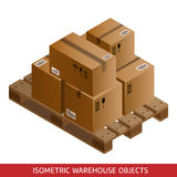 Set of isometric cardboard boxes and pallet. Warehouse equipment. Royalty Free Stock Image