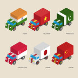 Set of isometric cargo trucks with flags of Asian countries Stock Images