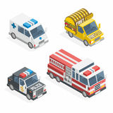 Set of the isometric cars. Isometric transport icon set. Ambulance, fire department police sedan dept pavement delivery fast food Stock Photography