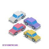 Set of Isometric Cars Vector Illustration Royalty Free Stock Images