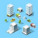 Set of isometric cartoon-style buildings, trees and cars. Architecture template illustration Stock Photos
