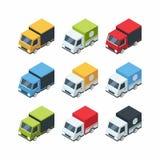 Set of isometric cartoon-style cargo cars Stock Image