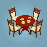 Set of the isometric cartoon table and four chairs. Set of the isometric cartoon table and chairs icon isolated on blue. Wooden volumetric round table and four Royalty Free Stock Photo