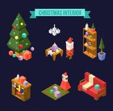 Set of isometric Christmas interior elements isolated on navy bl vector illustration