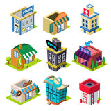 Set of the Isometric City Buildings and Shops Royalty Free Stock Photos