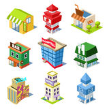 Set of the Isometric City Buildings and Shops Stock Images