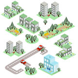 Set of the Isometric City Royalty Free Stock Image