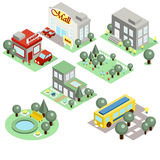 Set of the Isometric City Stock Photography