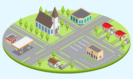 Set of the isometric city buildings Stock Image