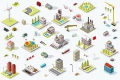 Isometric City Map Set Landmark Royalty Free Stock Image