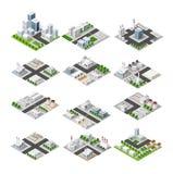 Set of isometric city royalty free illustration