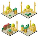 Set of isometric cityscapes with arabic cultural buildings.  vector illustration