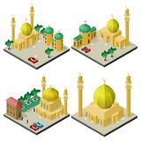 Set of isometric cityscapes with muslim cultural buildings.  vector illustration