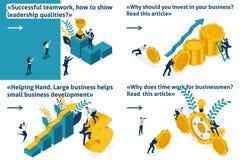 Set Isometric Concept Successful Teamwork vector illustration