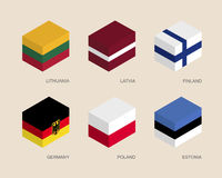 Set of isometric 3d boxes Royalty Free Stock Image