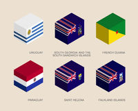 Set of isometric 3d boxes. With flags of South America countries. Simple containers with standards - Uruguay, Paraguay, South Georgia, French Guiana, Saint Royalty Free Stock Images