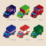 Set of isometric 3d cargo with falgs. Set of isometric 3d cargo trucks with flags  of countries in Atlantic. Cars with standards - Mauritania, Cape Verde Stock Photo