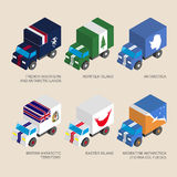 Set of isometric 3d cargo with flags Stock Image