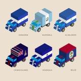 Set of isometric 3d cargo Stock Photos