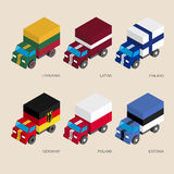 Set of isometric 3d cargo Stock Images
